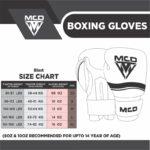 MCD Sports Men Boxing Gloves Size chart